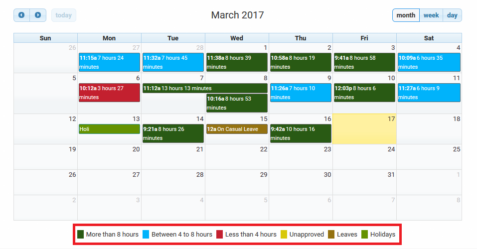 How to Read Your Attendance Calendar